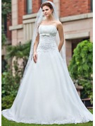 One-tier Lace Applique Edge Chapel Bridal Veils With Applique/Rhinestones