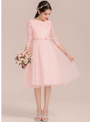 A-Line/Princess Scoop Neck Knee-Length Tulle Junior Bridesmaid Dress With Bow(s)