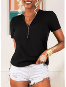 Short Sleeves Polyester V Neck Knit T-shirt Blouses