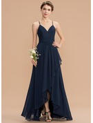 V-neck Asymmetrical Chiffon Lace Bridesmaid Dress With Cascading Ruffles
