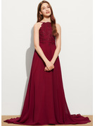 A-Line Scoop Neck Sweep Train Chiffon Lace Junior Bridesmaid Dress