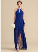 A-Line/Princess Scoop Neck Asymmetrical Chiffon Bridesmaid Dress With Cascading Ruffles