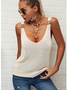 Regular Cotton Blends Strap Solid Knit Blouses