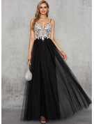 A-Line V-neck Floor-Length Chiffon Tulle Prom Dresses With Lace
