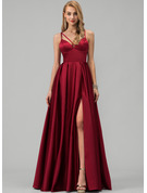 Satin Prom Dresses With Split Front Pockets