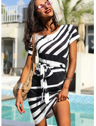 Striped Sheath Round Neck Short Sleeves Midi Casual Dresses