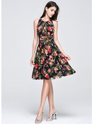 A-Line/Princess Scoop Neck Knee-Length Chiffon Holiday Dress With Ruffle