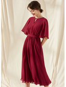 A-Line Scoop Neck Tea-Length Chiffon Bridesmaid Dress With Ruffle Bow(s)