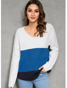Color Block Acrylic V-neck Pullovers Sweaters