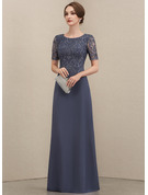 A-Line Scoop Neck Floor-Length Chiffon Lace Mother of the Bride Dress