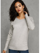 Couleur Unie Coton Col rond Pull-overs Pulls