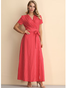 Polyester With Crumple/PolkaDot Maxi Dress