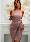 Solid One Shoulder Sleeveless Midi Dresses