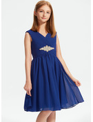 A-Line V-neck Knee-Length Chiffon Junior Bridesmaid Dress With Ruffle Beading