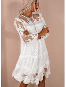 Lace Solid Shift Round Neck 3/4 Sleeves Midi Elegant Tunic Dresses
