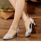 Women's Leatherette Mesh Heels Sandals Latin Modern Jazz Dance Shoes