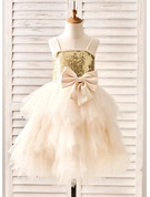 A-Line Knee-length Flower Girl Dress - Tulle/Sequined Sleeveless Straps With Bow(s)