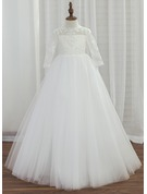 A-Line/Princess Floor-length Flower Girl Dress - Tulle/Lace 3/4 Sleeves Scoop Neck With Appliques