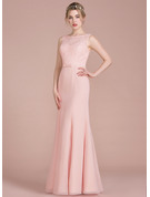 Trumpet/Mermaid Scoop Neck Floor-Length Chiffon Lace Bridesmaid Dress