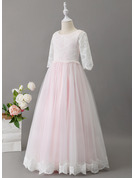 Ball-Gown/Princess Floor-length Flower Girl Dress - Tulle/Lace Long Sleeves Scoop Neck