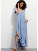 Polyester/Cotton With Solid/Slit Maxi Dress