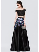 A-Line/Princess Off-the-Shoulder Floor-Length Satin Prom Dresses With Beading Flower(s)