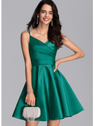 A-Line V-neck Satin Prom Dresses With Ruffle Pockets
