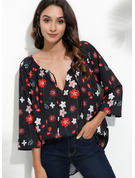 3/4 Sleeves Cotton Blends Polyester V Neck Blouses