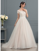 Ball-Gown Off-the-Shoulder Chapel Train Tulle Wedding Dress With Beading Appliques Lace Sequins Bow(s)