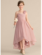 One-Shoulder Asymmetrical Chiffon Junior Bridesmaid Dress With Ruffle Flower(s) Bow(s)