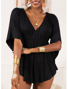 1/2 Sleeves Polyester V Neck Plus Size Blouses Blouses