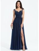 A-Line Scoop Neck Sweep Train Tulle Prom Dresses With Beading Split Front