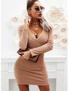 Solid Bodycon V-Neck Long Sleeves Midi Casual Little Black Dresses