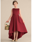 A-Line/Princess Scoop Neck Asymmetrical Satin Junior Bridesmaid Dress With Ruffle Pockets
