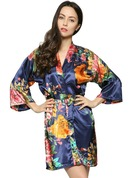 Bride Bridesmaid charmeuse With Short Floral Robes