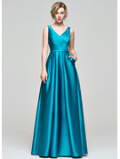 A-Line/Princess V-neck Floor-Length Satin Bridesmaid Dress With Ruffle Pockets