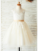 A-Line/Princess Knee-length Flower Girl Dress - Satin/Tulle/Lace Sleeveless Scoop Neck With Appliques (Undetachable sash)