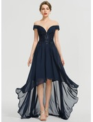 A-Line Off-the-Shoulder Asymmetrical Chiffon Evening Dress With Sequins