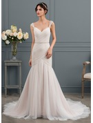 Trumpet/Mermaid V-neck Court Train Tulle Wedding Dress With Ruffle Beading Sequins