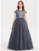 Ball-Gown/Princess Floor-length - Tulle Lace Short Sleeves Scoop Neck