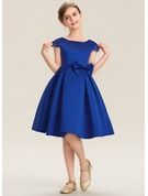 Scoop Neck Knee-Length Satin Junior Bridesmaid Dress With Lace Bow(s)