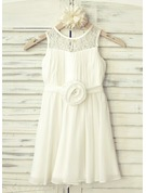 A-Line/Princess Knee-length Flower Girl Dress - Chiffon Sleeveless Scoop Neck With Flower(s)