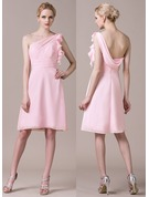 Sheath/Column One-Shoulder Knee-Length Chiffon Bridesmaid Dress With Cascading Ruffles