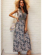 Floral Lace Print A-line V-Neck Sleeveless Maxi Casual Vacation Skater Dresses