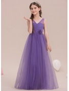 A-Line/Princess V-neck Floor-Length Tulle Junior Bridesmaid Dress With Flower(s)