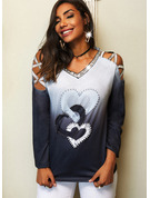 Regular Cotton Blends Cold Shoulder Print Sequins Gradient Heart Fitted Blouses