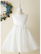 Knee-length Flower Girl Dress - Organza Sleeveless Scoop Neck With Flower(s) Bow(s)