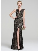 Trumpet/Mermaid V-neck Floor-Length Lace Evening Dress With Beading Split Front