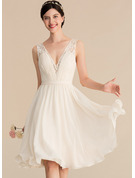 A-Line V-neck Knee-Length Chiffon Lace Wedding Dress With Ruffle