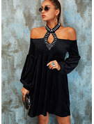 Solid Beaded Shift Cold Shoulder Long Sleeves Lantern Sleeve Midi Elegant Little Black Party Dresses